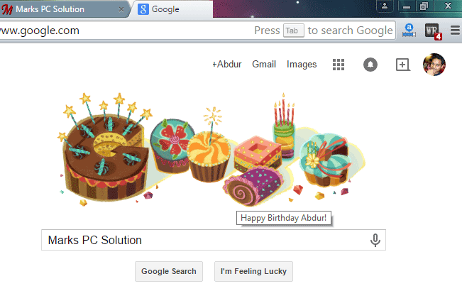 Google Homepage with Birthday Wish