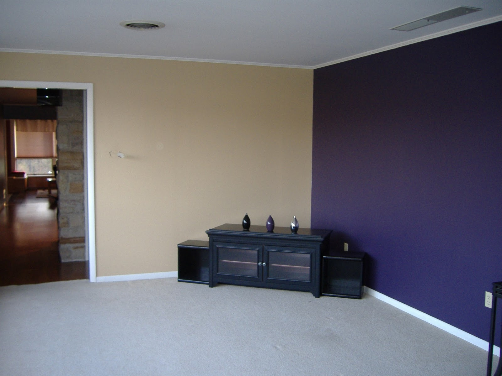 While I Loved The Eggplant Accent Wall, I HATED The Beige Color I Painted  The Other Three Walls. I Used The Same Color That We Had In The Hallway, ...