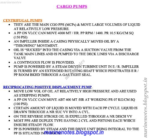 Marine Pumps Notes Types Of Cargo