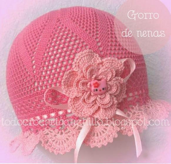 Gorro crochet para niñas en color rosa con diagrama gratis