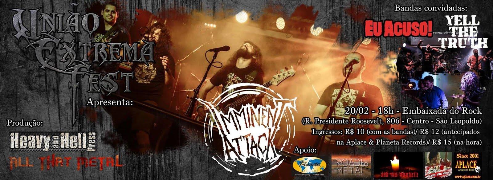 Mais um apoio Road to Metal! Pela 1° vez no RS a revelação do Crossover nacional, IMMINENT ATTACK!