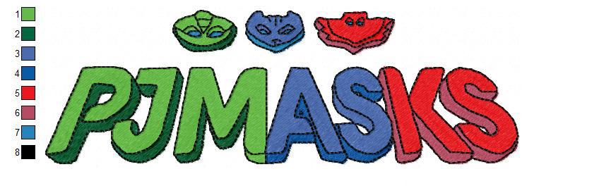 new embroidery design logo pj masks embroidery design