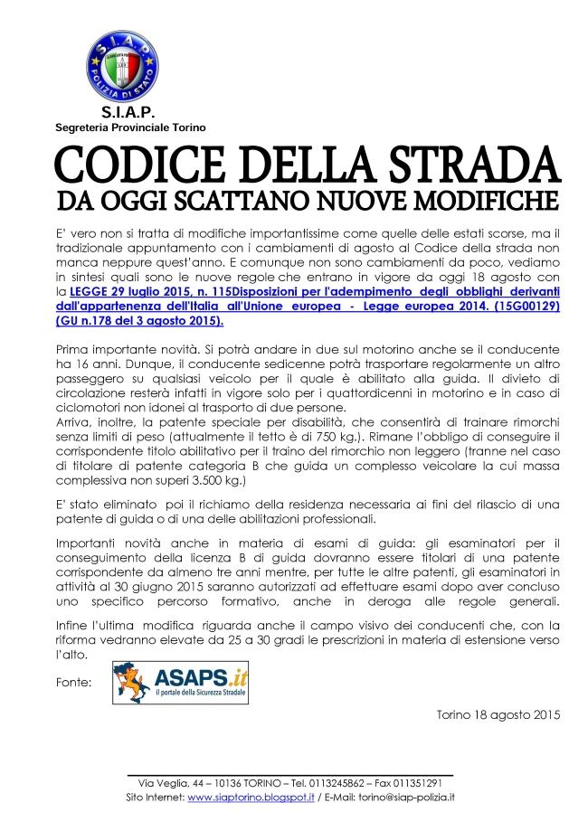 S i a p segreteria provinciale torino codice della for Codice della strada biciclette da corsa