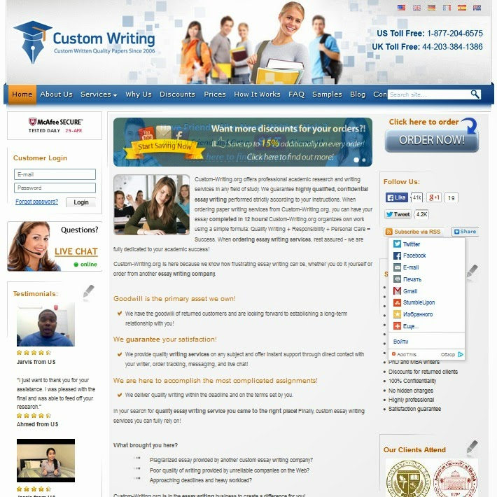 www.custom-essays.org customer service In our essaylaborg review, you will learn how this company charges very low prices to high school students, and you will learn how to make an.