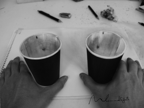 01-Real-Cup-And-3D-Cup-Muhammad-Ejleh-2D-Like-3D-Drawings