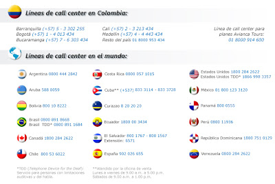 Avianca de Colombia telefonos de atencion Call center 2016 2017
