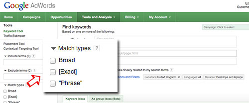 Screenshoot of Google AdWords Keyword Tool.