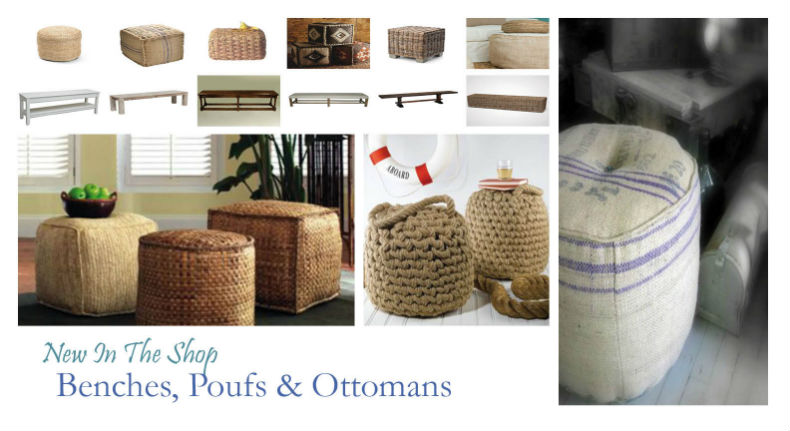 New in the shop- coastal ottomans
