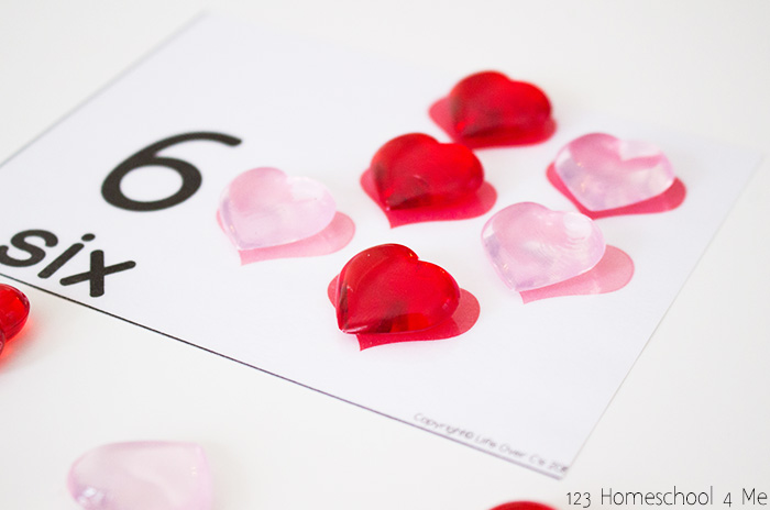 Valentines Day Counting Cards – Preschool Valentines Cards