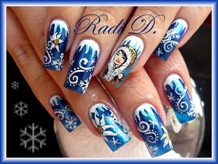 Декорация на нокти Зима
