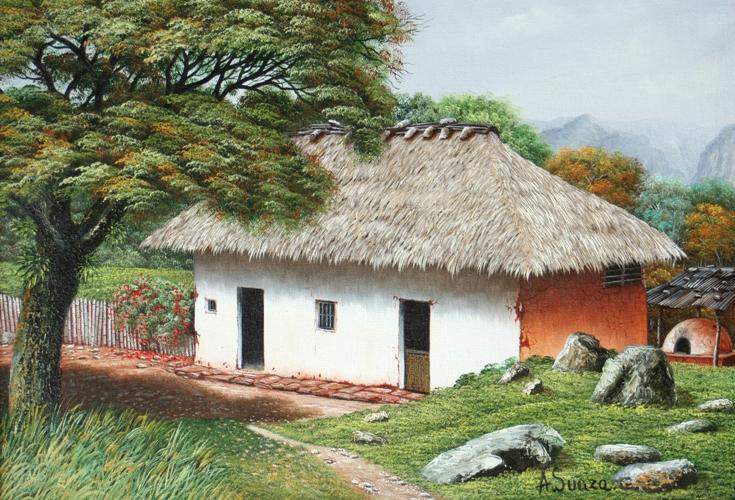 Cuadros modernos pinturas y dibujos paisajes - Paisajes de casas de campo ...