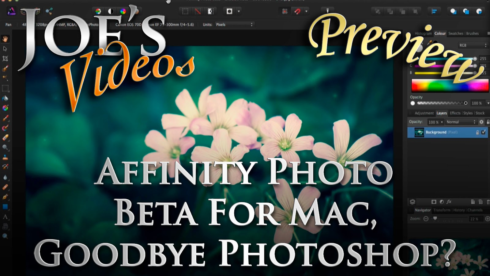 Affinity Photo Beta Preview For Mac, Goodbye Photoshop? | Joe's Videos