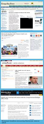 Philly.com, NJ,com, Detroitfreepress.com, Tampabay.com Headlines Regarding Obamacare Reducing Deficit