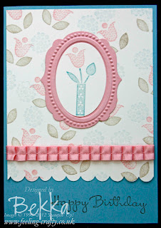 Vintage Feel Bright Blossoms Card by Bekka www.feeling-crafty.co.uk