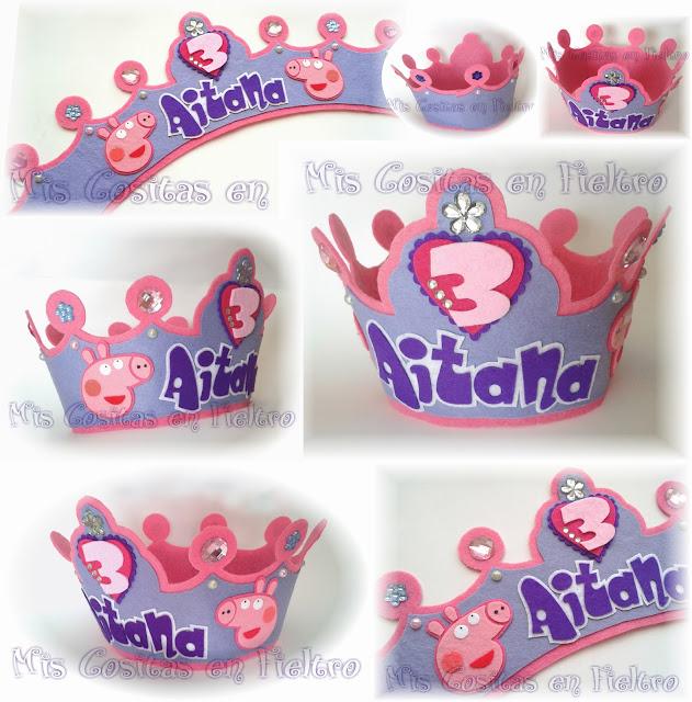 corona de cumpleaños, corona de fieltro, Peppa Pig, fiesta,  corona de cumpleaños, corona de fieltro, Peppa Pig, George Pig, fiesta,  corona, cumpleaños, personajes, felt crown
