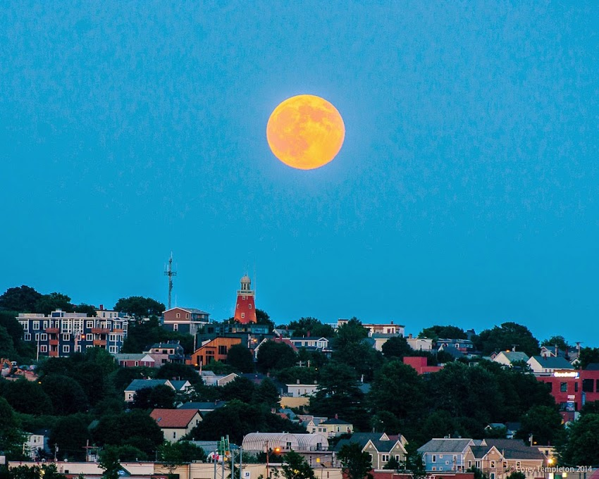 Portland, Maine July 2014 summer skyline with moon rising over munjoy hill photo by Corey Templeton