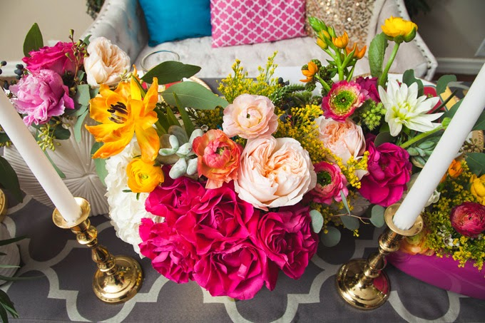 Glittery Pink, Yellow, and Blue Styled Shoot