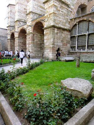 The yard of Hagia Sophia Museum Istanbul Turkey