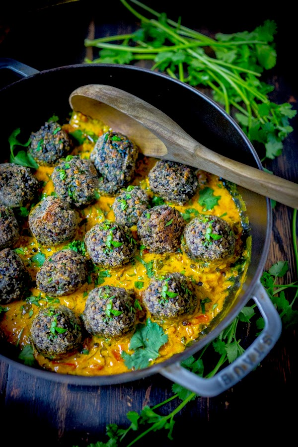vegan meatballs, fenugreek sauce, coconut sauce