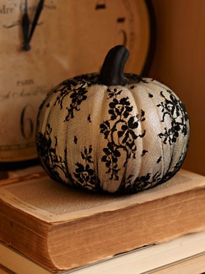 pumpkin covered in patterned hosiery