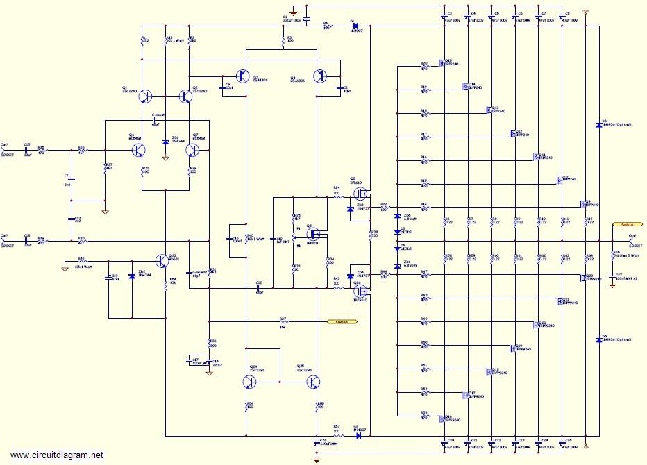800w High Power Amplifier Using Mosfet Electronic Circuit