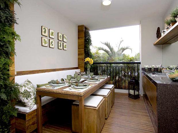 decoracao rustica para ambientes pequenos:espaço gourmet do apartamento pode ser completamente integrado.