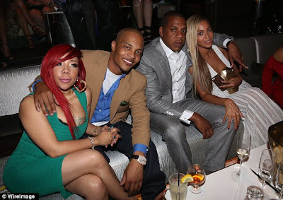 Beyonce, Jay-Z hangout with TI &Tiny at club 40/40 10th anniversary party