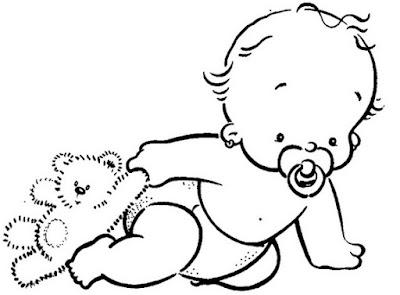 Desenhos Preto e Branco Bebes com ursinho gatinho engraçadinhos brincando monica Colorir