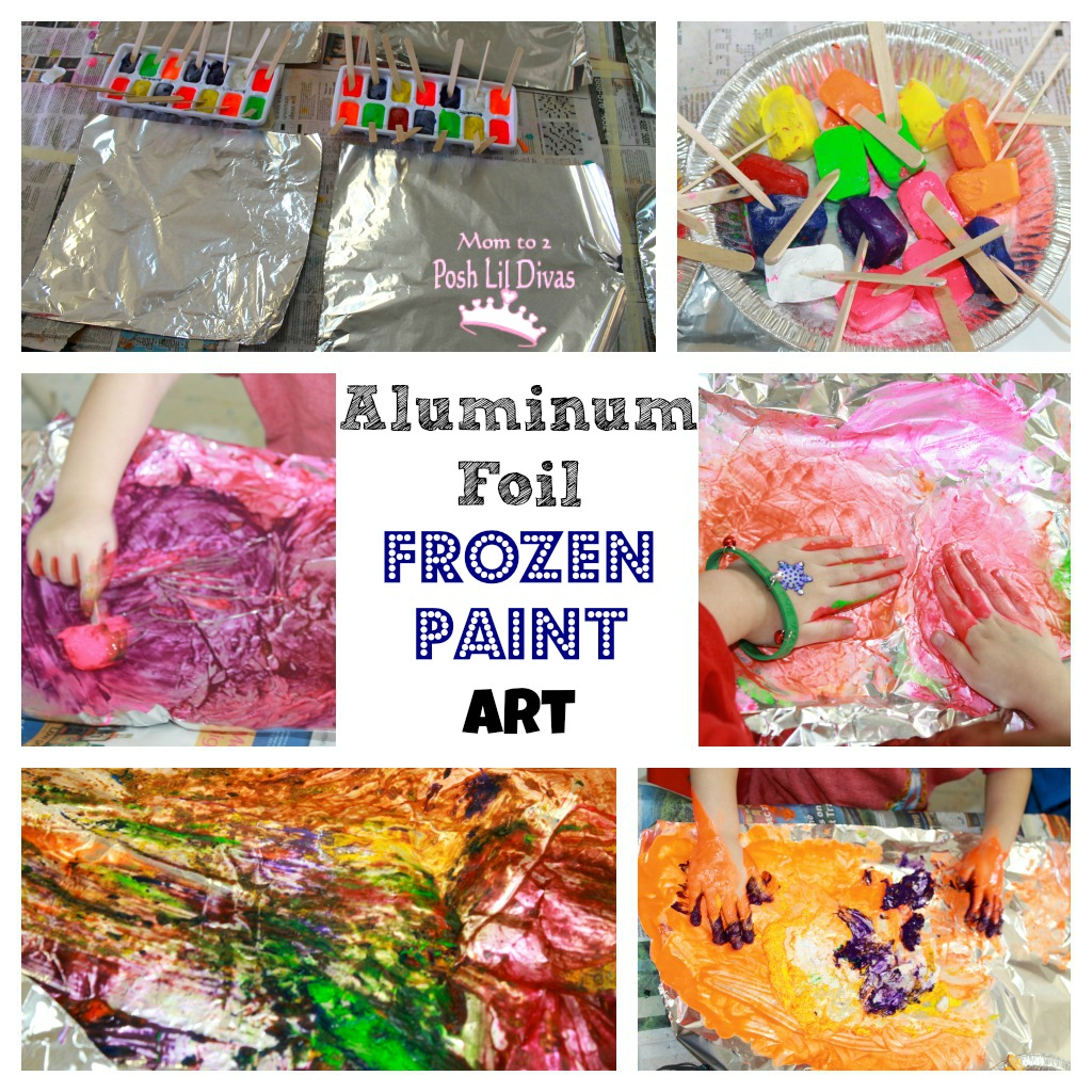 aluminum foil frozen paint art in preschool