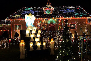 Outdoor Christmas decoration with lights and angels picture