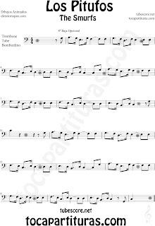 Partitura de Trombón, Tuba y Bombardino en Clave de Fa de Los Pitufos The Smurfs Trombone Tube and Euphonium sheet music (scores). Para tocar con la música original