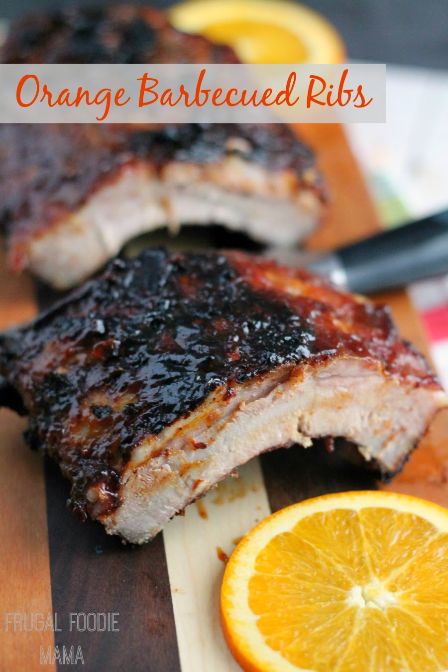 These tender Orange Barbecued Ribs are made sweet & spicy with fresh orange juice, zest, red pepper, & bold Kraft barbecue sauce. #Evergriller #sponsored