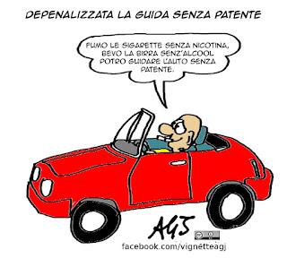 Codice della strada, depenalizzazioni, patente, surrogati, salutismo, satira vignetta