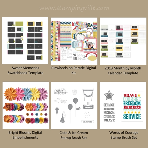 New Stampin' Up! Digital Kits, Templates, Stamp Brush Sets & Embellishments