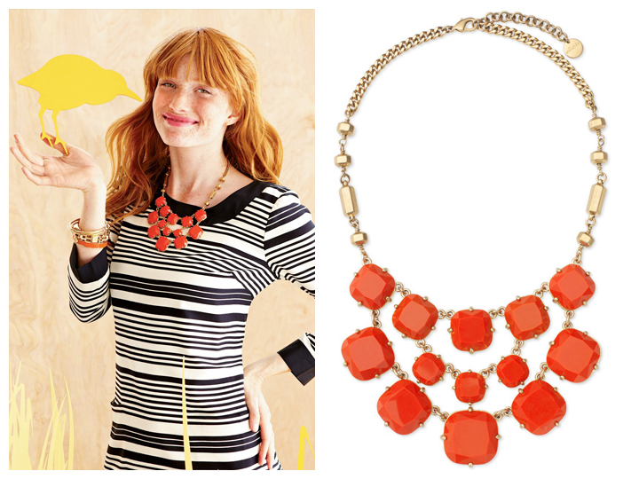 Olivia coral orange bib Necklace Stella and Dot