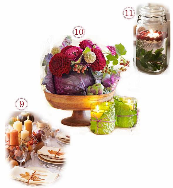 Verduras, restos, frutos del bosque y hojas sirven para hacer bonitos centros de mesa