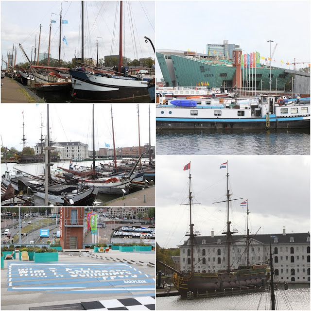 Nemo Science Center on top right while Netherlands Maritime Museum with the replica of ship on bottom right in Amsterdam, Netherlands