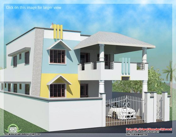 2200 sq feet minimalist tamilnadu style house kerala for Tamilnadu home design photos