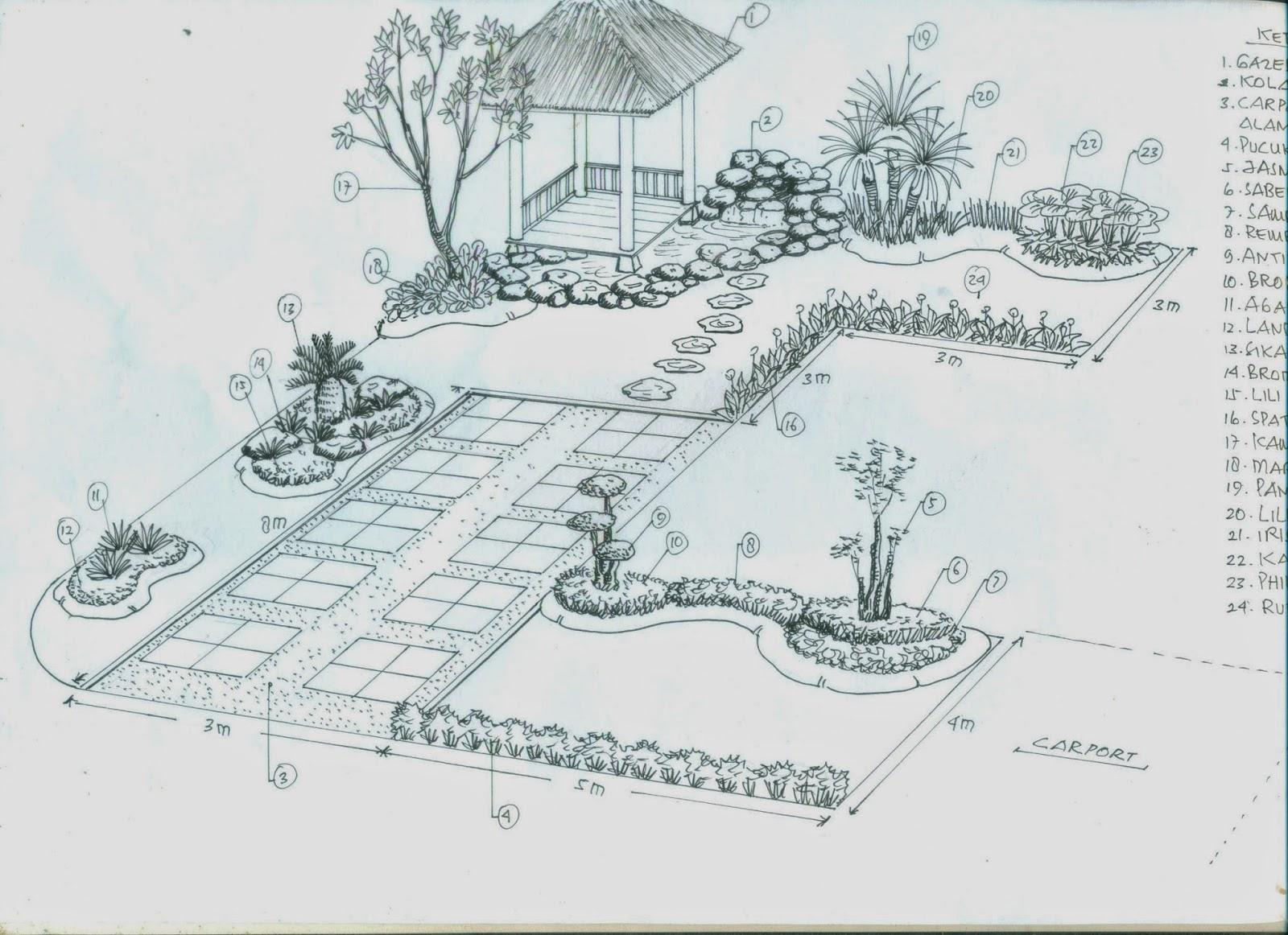 Sketsa Taman Rumah Harga Pembuatan Taman Minimalis Tukang Taman