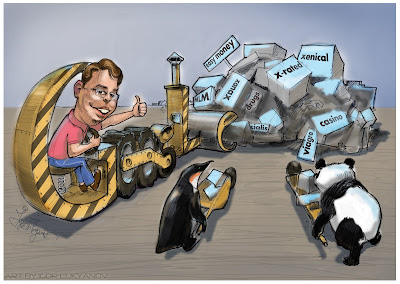 Matt Cutts cartoon with Penguin and Panda