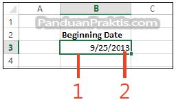 Gambar: cara membuat tanggal otomatis di excel