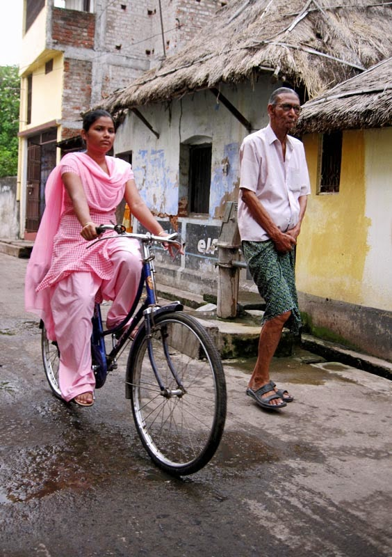 Indian girl cycling
