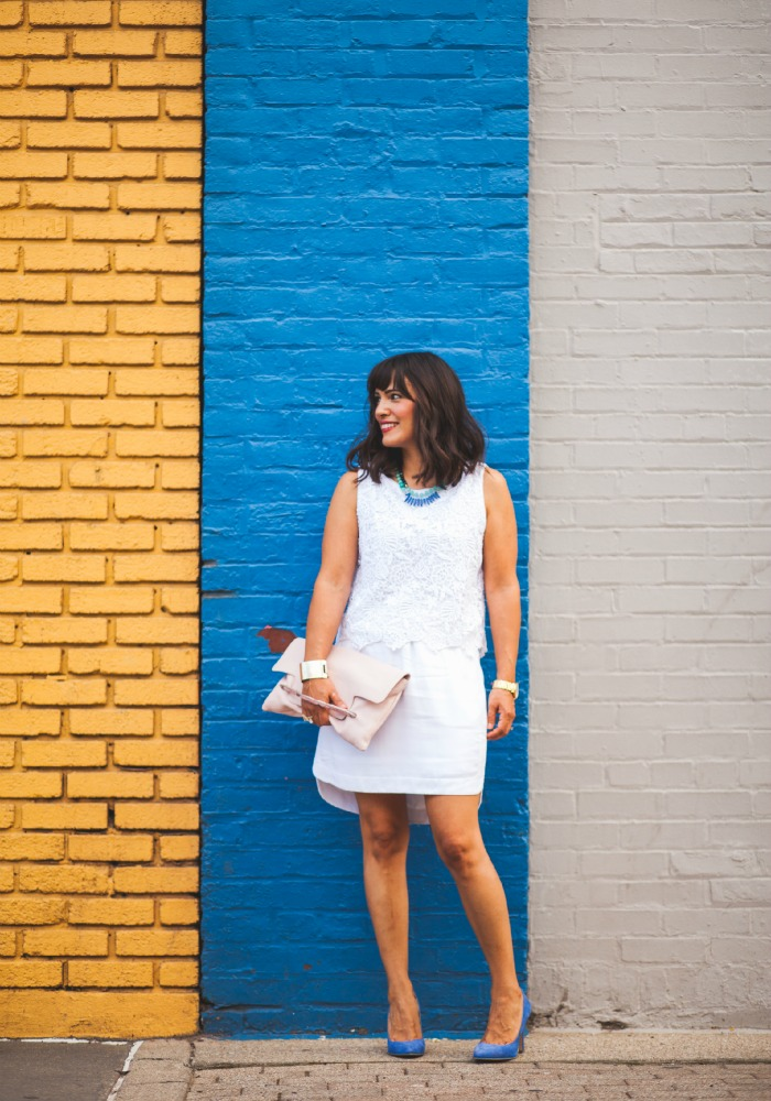white on white for summer with blue accents