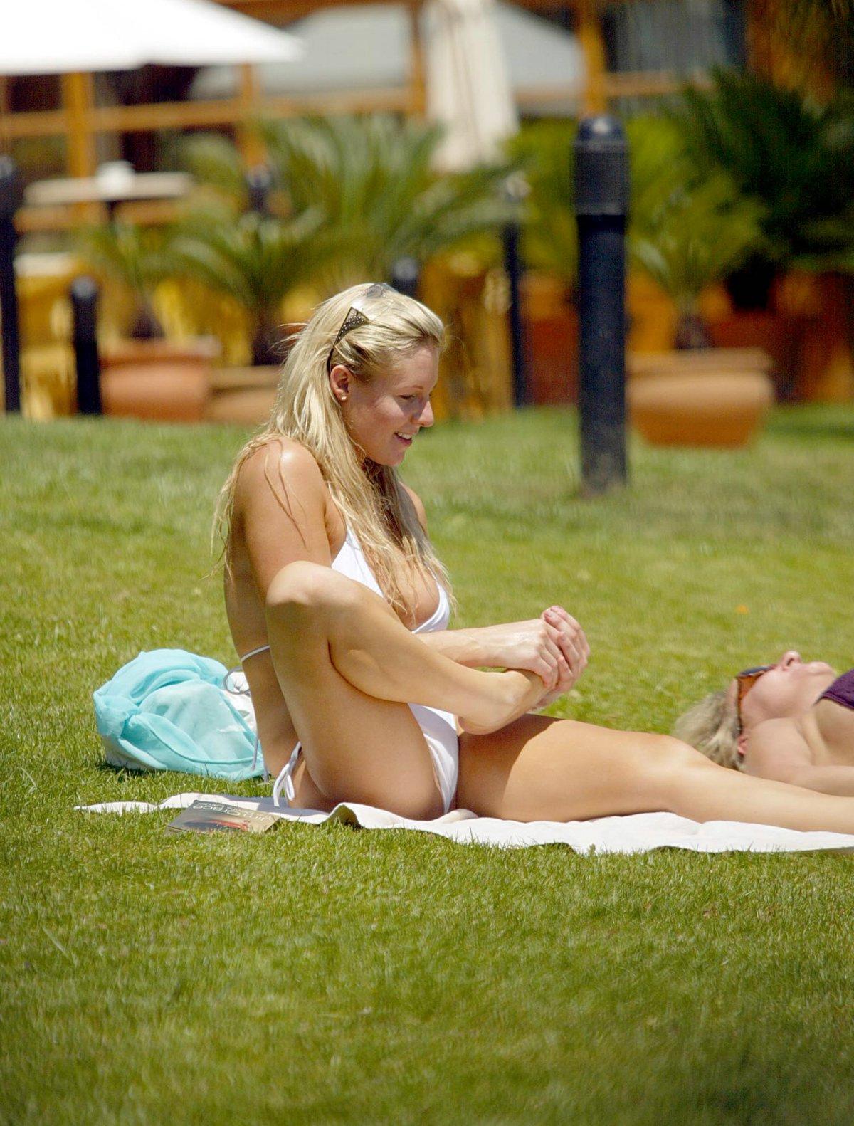 Abi Titmuss Bikini at the Pool/Beach Majorca, Spain June