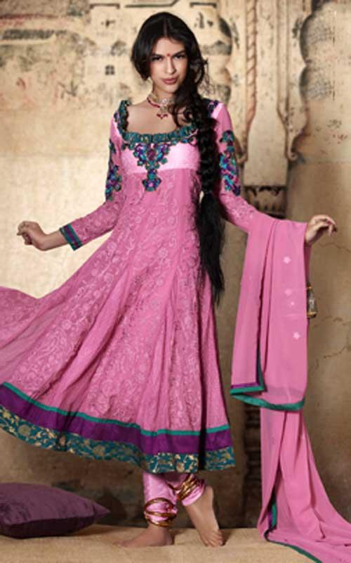 Pink Anarkali Churidar Summer Collection