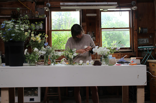 flower arranging, studio, behind the scenes, farmer florist, maine, chickadee hill flowers