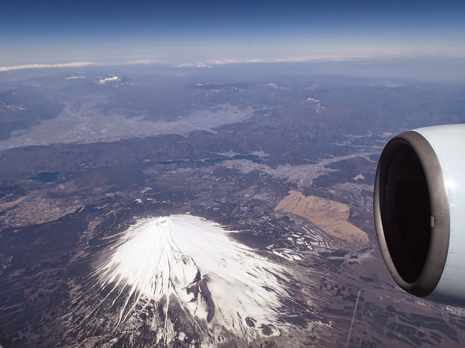 aerial view of mount fuji japan from an airplane