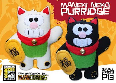 San Diego Comic-Con 2013 Exclusive Maneki Neko Purridge Plush Figure by Furry Feline Creatives – White & Black