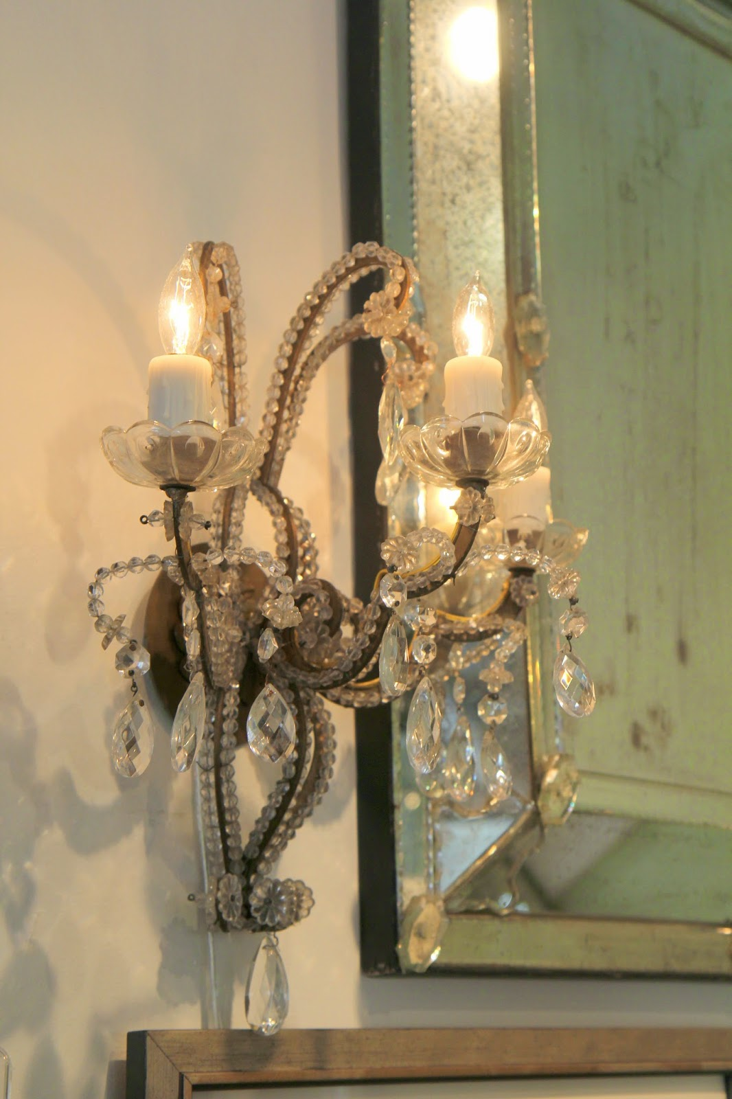 Antique beaded sconce; Inspirational Chandeliers and Sconces; Nora's Nest