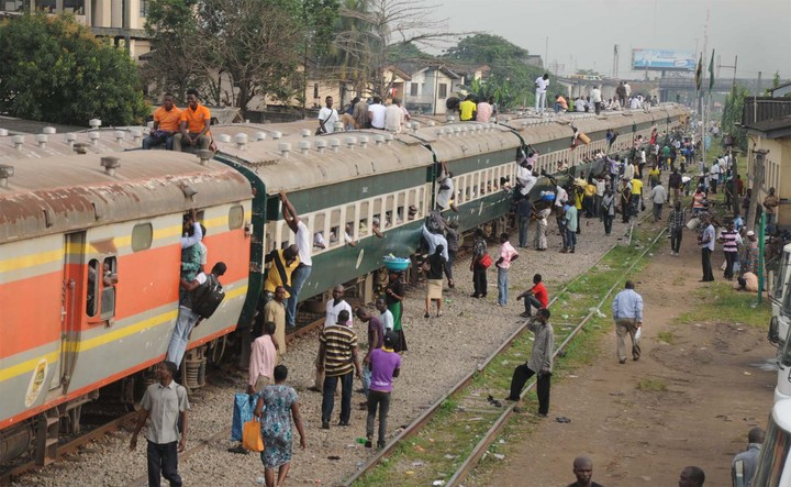 People using trains in Lagos
